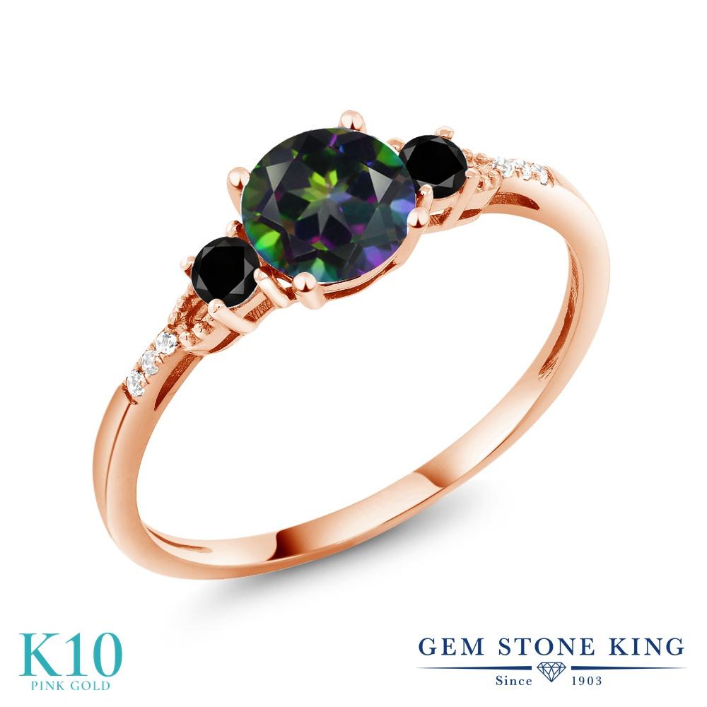 【10%OFF】 Gem Stone King 1.17カラット 天然石 ミスティックトパーズ (グリーン) ブラックダイヤモンド 指輪 リング レディース 10金 ピンクゴールド K10 大粒 マルチストーン クリスマスプレゼント 女性 彼女 妻 誕生日