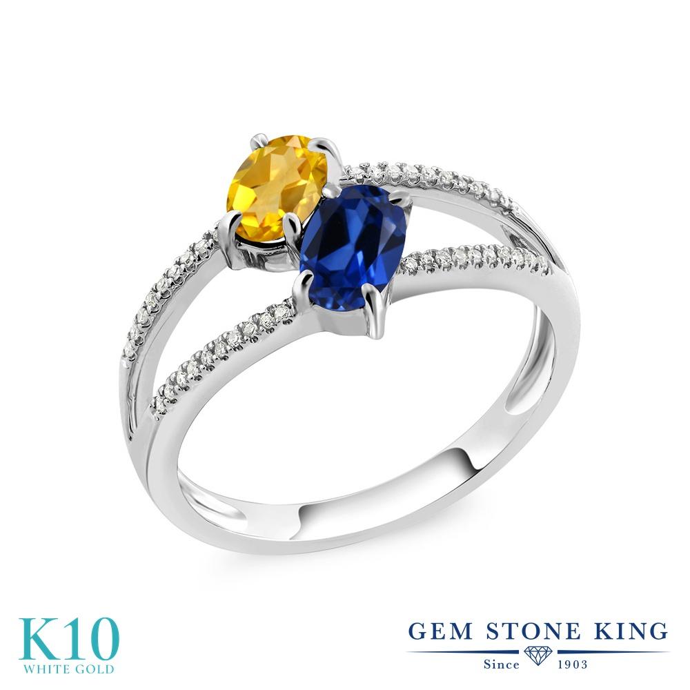 Gem Stone King 1.18カラット 天然 シトリン シミュレイテッド サファイア 天然 ダイヤモンド 10金 ホワイトゴールド(K10) 指輪 リング レディース 小粒 ダブルストーン 天然石 11月 誕生石 金属アレルギー対応 誕生日プレゼント