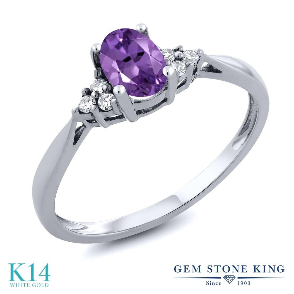 Gem Stone King 0.41カラット 天然 アメジスト 天然 ダイヤモンド 14金 ホワイトゴールド(K14) 指輪 リング レディース 小粒 ソリティア 華奢 細身 天然石 2月 誕生石 金属アレルギー対応 誕生日プレゼント