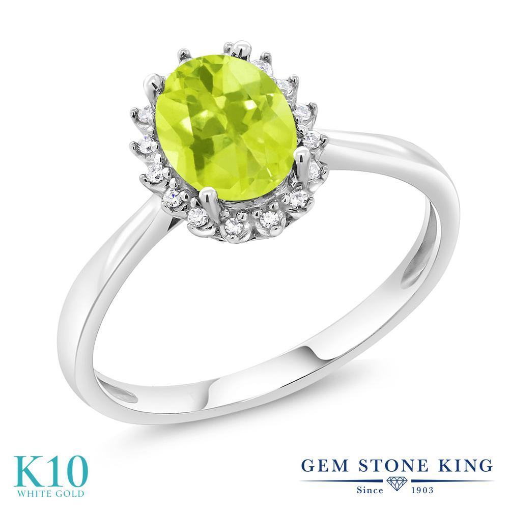 Gem Stone King 1.1カラット 天然 レモンクォーツ 天然 ダイヤモンド 10金 ホワイトゴールド(K10) 指輪 リング レディース 大粒 ヘイロー 天然石 金属アレルギー対応 誕生日プレゼント