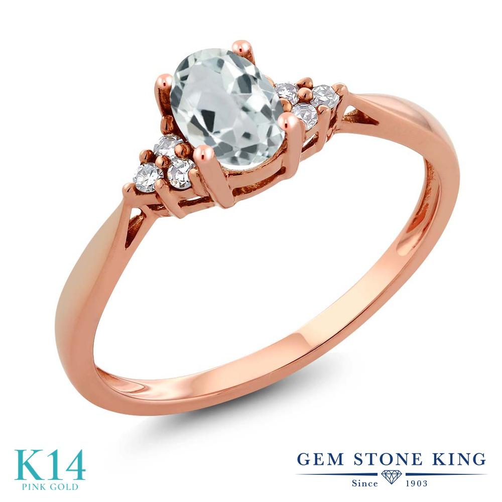 Gem Stone King 0.49カラット 天然 アクアマリン 天然 ダイヤモンド 14金 ピンクゴールド(K14) 指輪 リング レディース 小粒 ソリティア 天然石 3月 誕生石 金属アレルギー対応 誕生日プレゼント