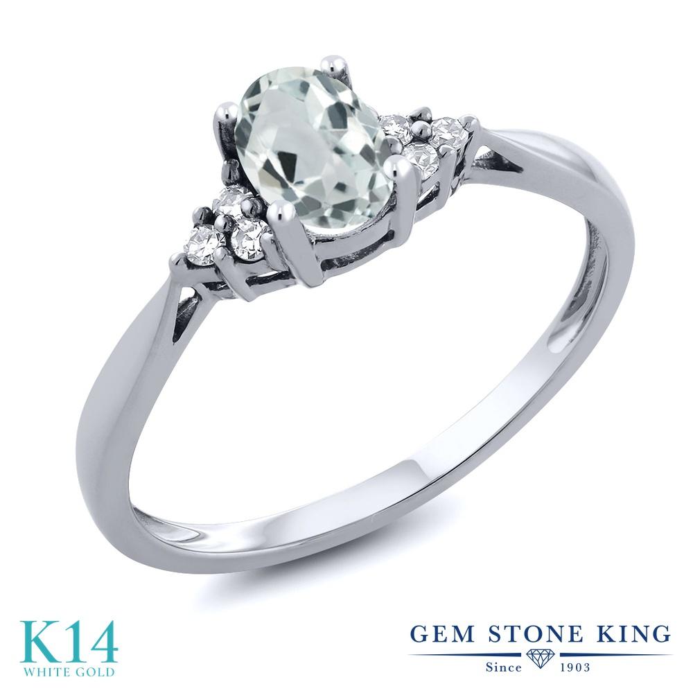 0.49カラット 天然 アクアマリン 指輪 レディース リング ダイヤモンド 14金 ホワイトゴールド K14 ブランド おしゃ