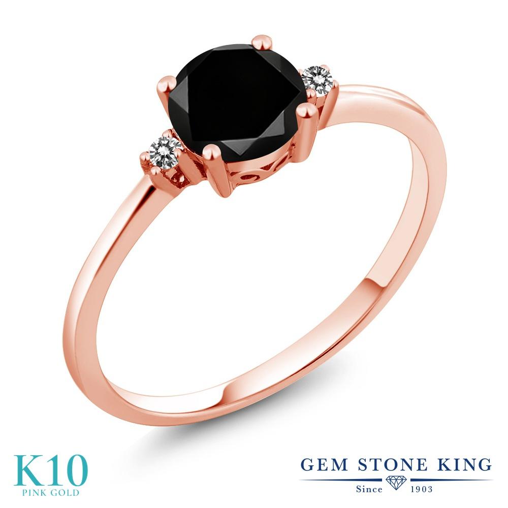 1.08カラット ブラックダイヤモンド 指輪 レディース リング 10金 ピンクゴールド K10 ブランド おしゃれ 一粒 ブラック ダイヤ 黒 大粒 シンプル 細身 ソリティア 天然石 4月 誕生石 婚約指輪 エンゲージリング