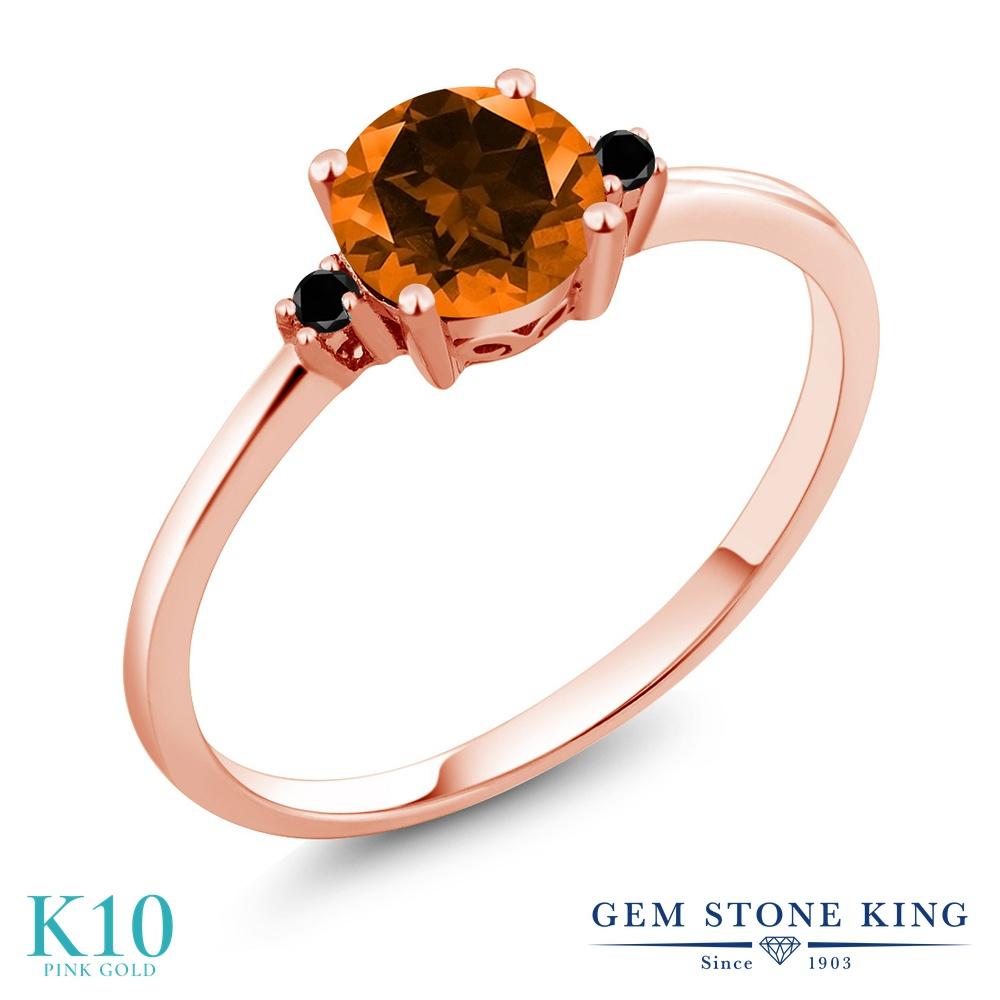 Gem Stone King 1.03カラット 天然石 トパーズ ポピー (スワロフスキー 天然石シリーズ) 天然ブラックダイヤモンド 10金 ピンクゴールド(K10) 指輪 リング レディース 大粒 シンプル ソリティア 天然石 金属アレルギー対応 誕生日プレゼント
