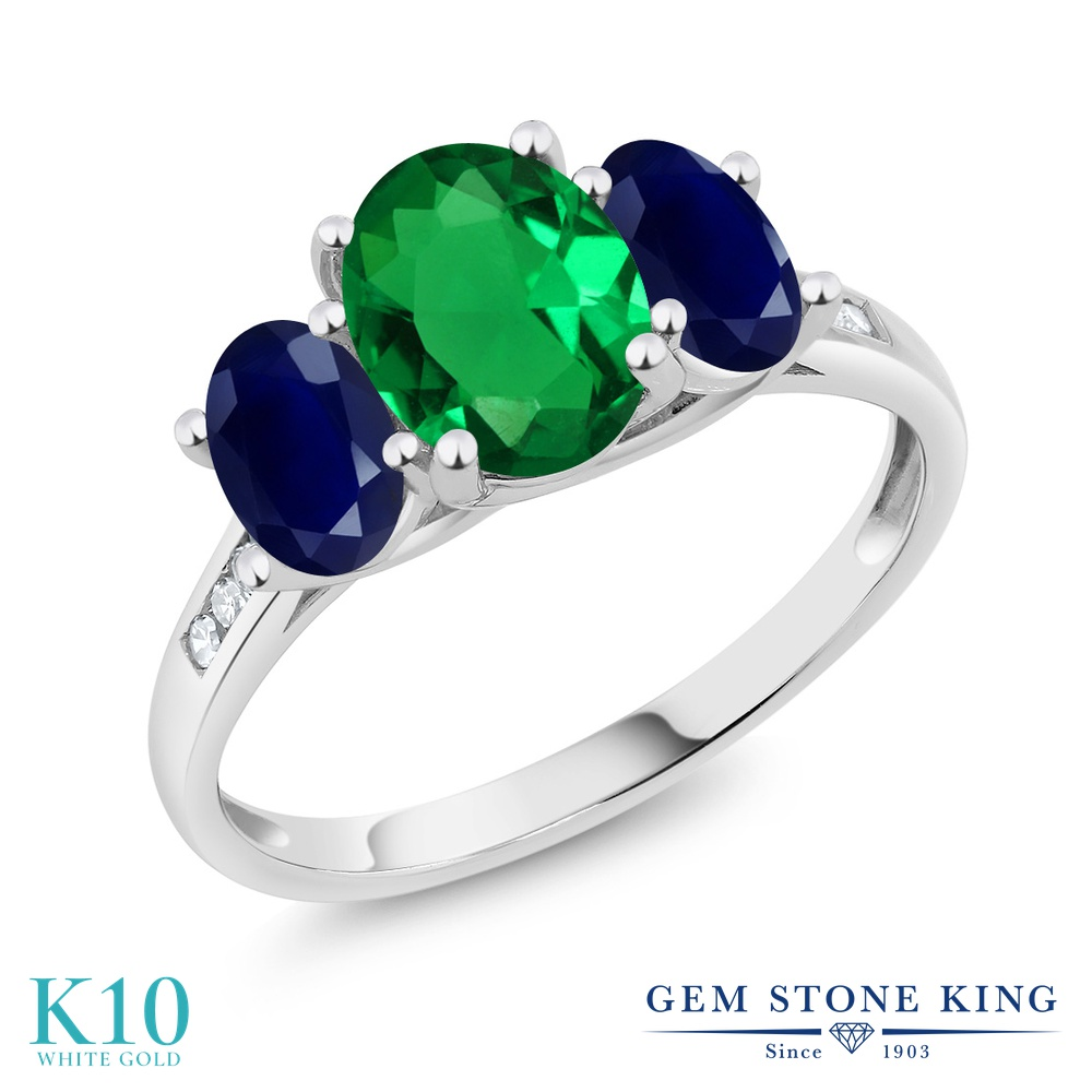 Gem Stone King 2.1カラット ナノエメラルド 天然 サファイア 天然 ダイヤモンド 10金 ホワイトゴールド(K10) 指輪 リング レディース 大粒 スリーストーン 金属アレルギー対応 誕生日プレゼント