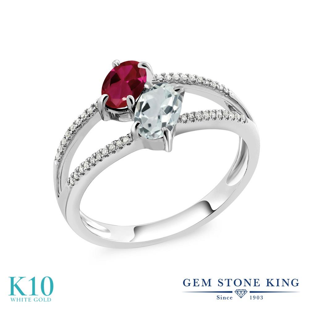 Gem Stone King 1.21カラット 合成ルビー 天然 アクアマリン 天然 ダイヤモンド 10金 ホワイトゴールド(K10) 指輪 リング レディース 小粒 ダブルストーン 金属アレルギー対応 誕生日プレゼント