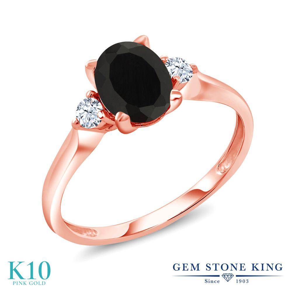 【10%OFF】 Gem Stone King 1.7カラット 天然 オニキス 合成ホワイトサファイア (ダイヤのような無色透明) 指輪 リング レディース 10金 ピンクゴールド K10 大粒 シンプル スリーストーン 天然石 8月 誕生石 クリスマスプレゼント 女性 彼女 妻 誕生日