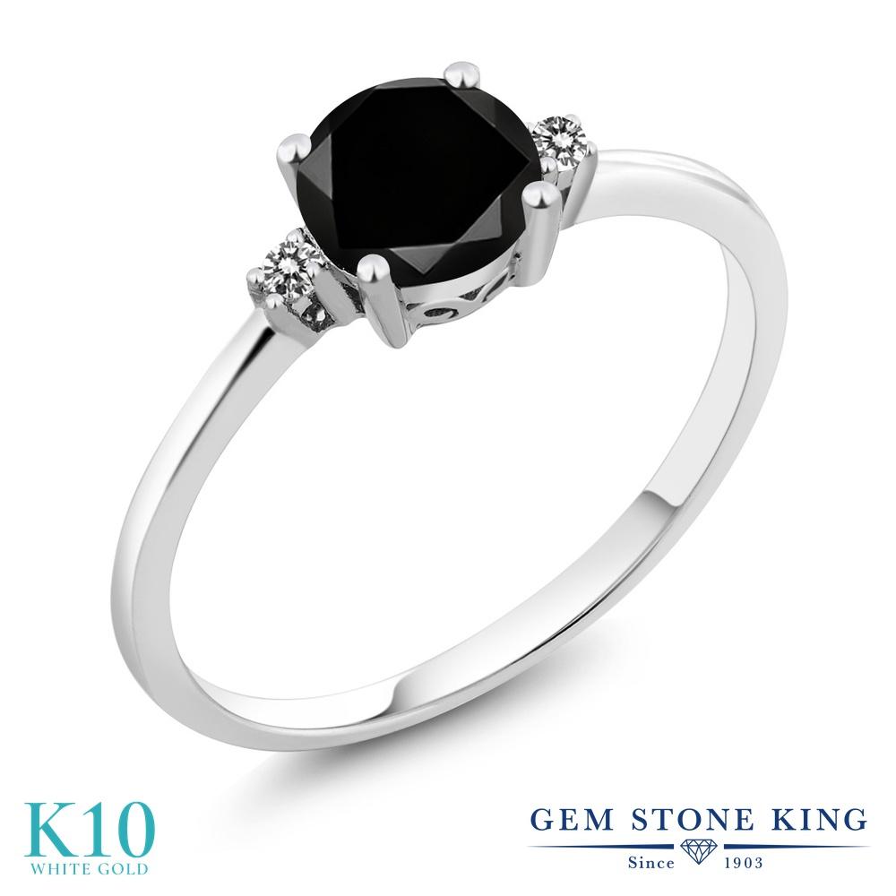 1.08カラット ブラックダイヤモンド 指輪 レディース リング 10金 ホワイトゴールド K10 ブランド おしゃれ 一粒 ブラック ダイヤ 黒 大粒 シンプル 細身 ソリティア 天然石 4月 誕生石 婚約指輪 エンゲージリング