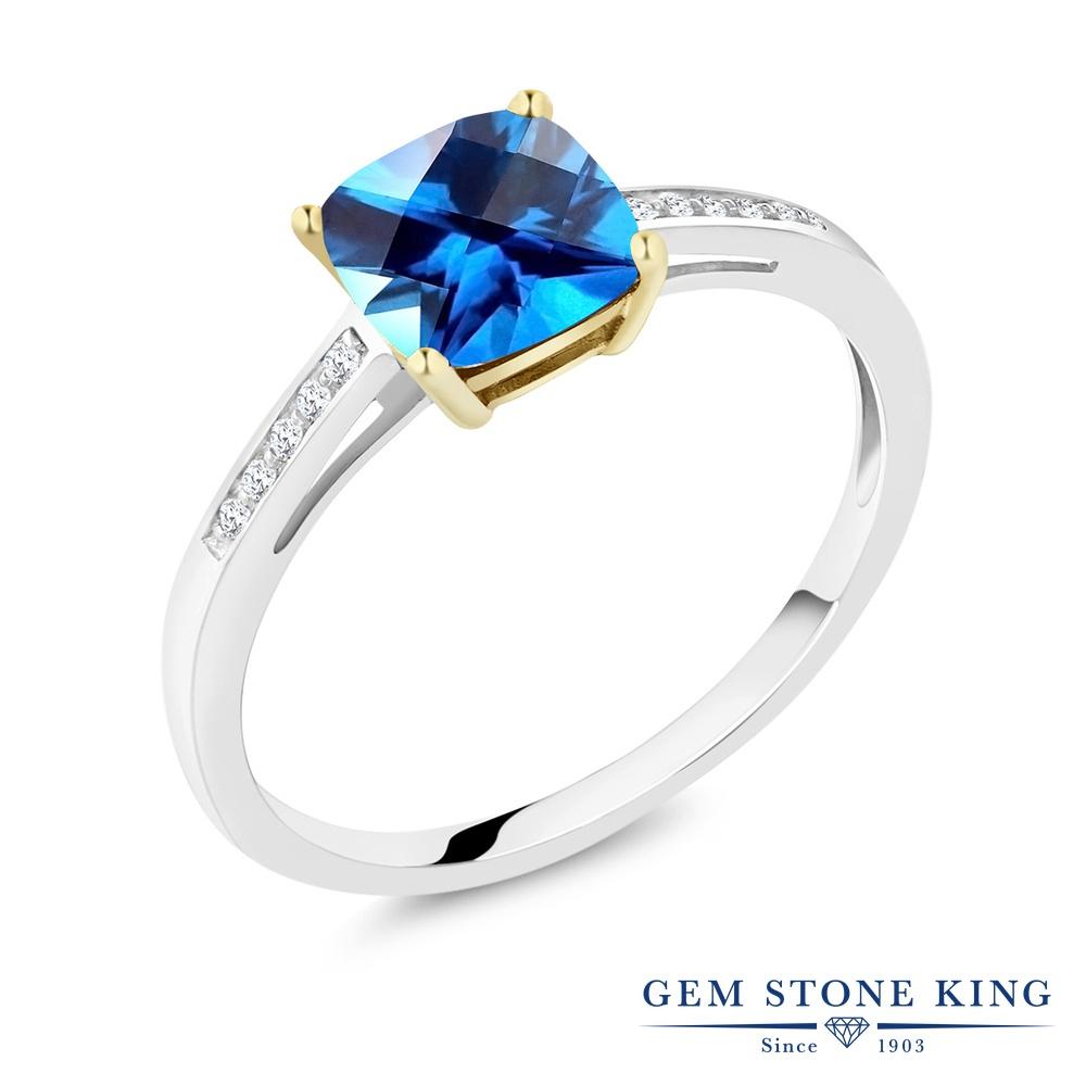 Gem Stone King 1.56カラット 天然石 カシミアブルートパーズ (スワロフスキー 天然石シリーズ) 天然 ダイヤモンド シルバー925 &10金 イエローゴールド(K10) 指輪 リング レディース 大粒 マルチストーン 天然石 金属アレルギー対応 誕生日プレゼント