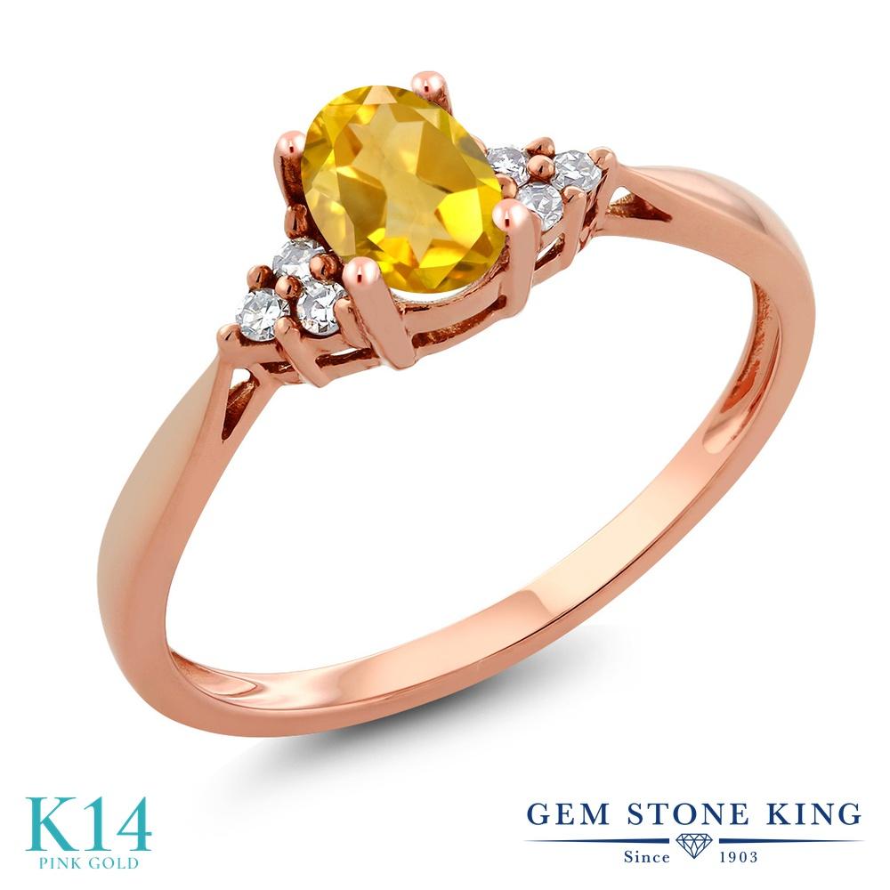 Gem Stone King 0.46カラット 天然 シトリン 天然 ダイヤモンド 14金 ピンクゴールド(K14) 指輪 リング レディース 小粒 ソリティア 天然石 11月 誕生石 金属アレルギー対応 誕生日プレゼント