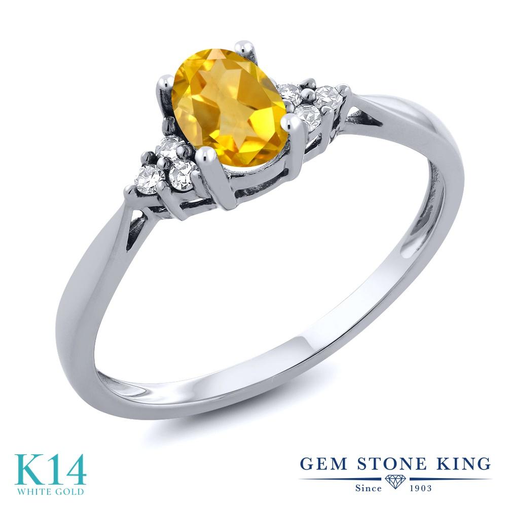 Gem Stone King 0.46カラット 天然 シトリン 天然 ダイヤモンド 14金 ホワイトゴールド(K14) 指輪 リング レディース 小粒 ソリティア 天然石 11月 誕生石 金属アレルギー対応 誕生日プレゼント