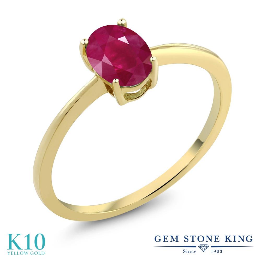Gem Stone King 1.02カラット 天然 ルビー 10金 イエローゴールド(K10) 指輪 リング レディース 大粒 一粒 シンプル ソリティア 天然石 7月 誕生石 金属アレルギー対応 婚約指輪 エンゲージリング