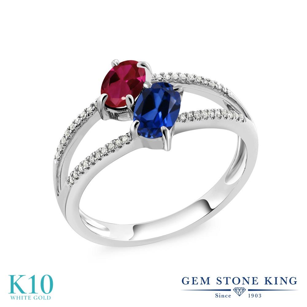Gem Stone King 1.28カラット 合成ルビー シミュレイテッド サファイア 天然 ダイヤモンド 10金 ホワイトゴールド(K10) 指輪 リング レディース 小粒 ダブルストーン 金属アレルギー対応 誕生日プレゼント