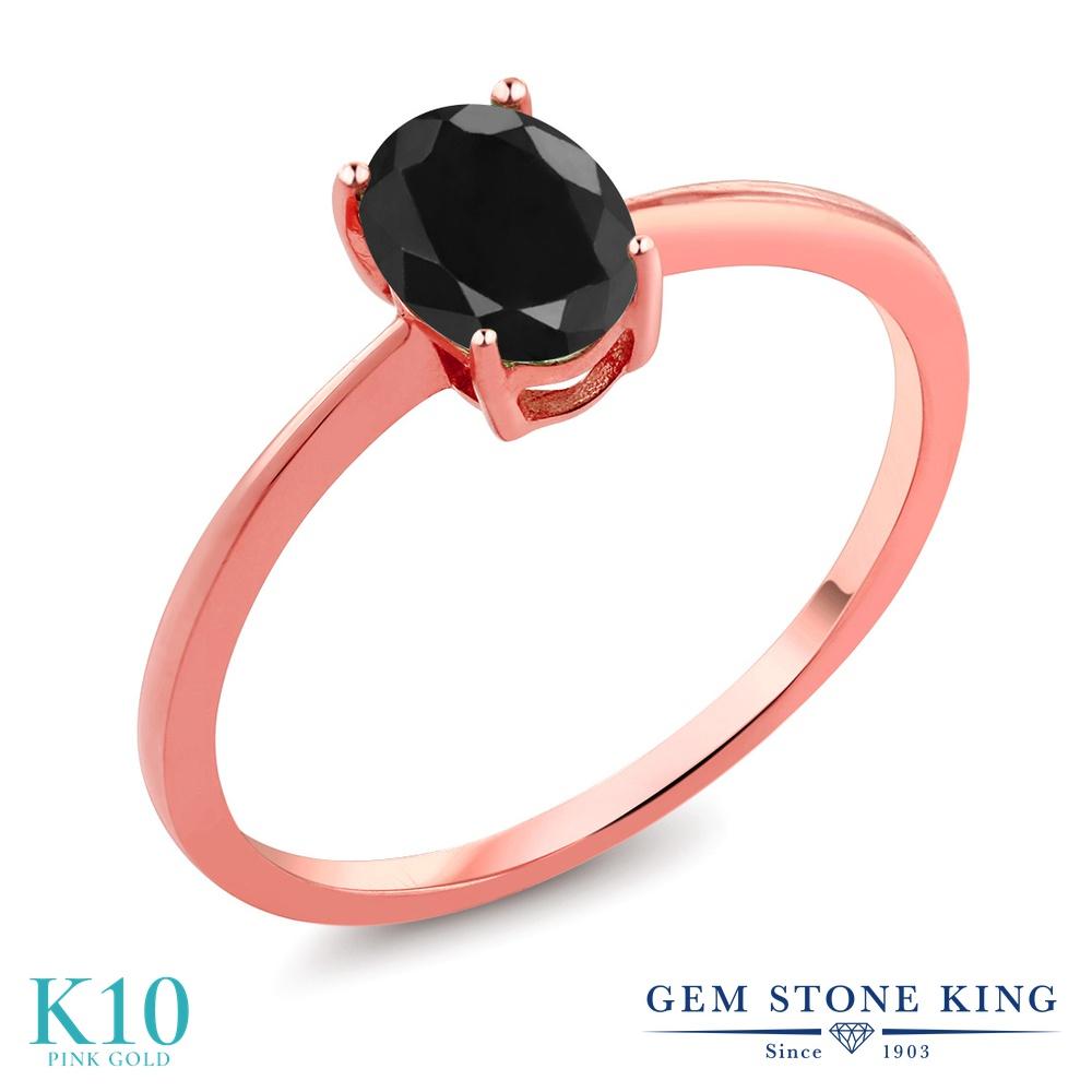 Gem Stone King 1.07カラット 天然 ブラックサファイア 10金 ピンクゴールド(K10) 指輪 リング レディース 大粒 一粒 シンプル ソリティア 天然石 9月 誕生石 金属アレルギー対応 誕生日プレゼント