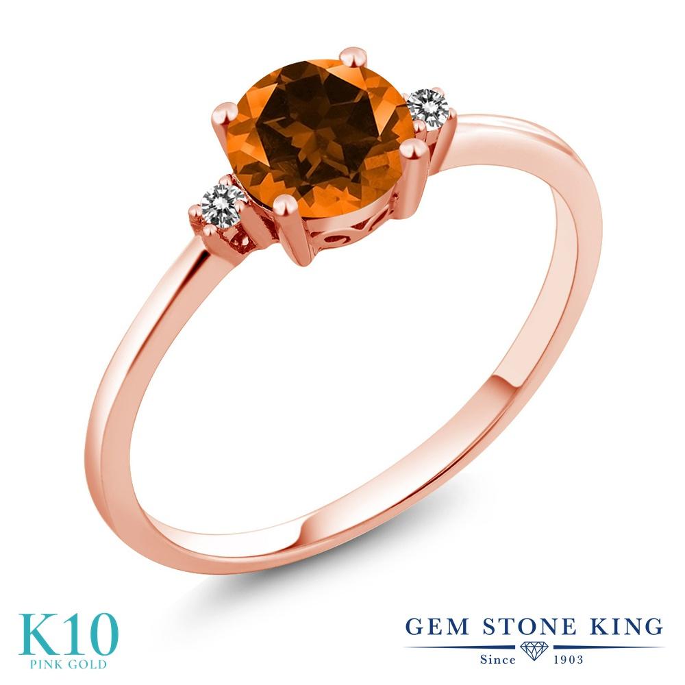 【10%OFF】 Gem Stone King 1.03カラット 天然石 トパーズ ポピー (スワロフスキー 天然石) 天然 ダイヤモンド 指輪 リング レディース 10金 ピンクゴールド K10 大粒 シンプル ソリティア クリスマスプレゼント 女性 彼女 妻 誕生日