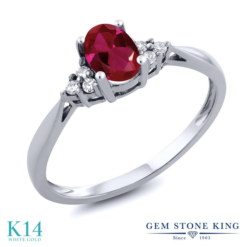 Gem Stone King 0.56カラット 合成ルビー 天然 ダイヤモンド 14金 ホワイトゴールド(K14) 指輪 リング レディース 小粒 ソリティア 金属アレルギー対応 誕生日プレゼント