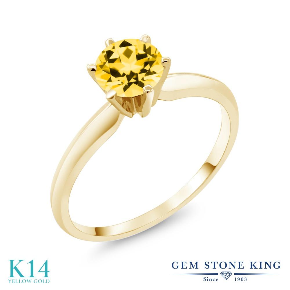 Gem Stone King 1カラット 天然石 トパーズ ハニースワロフスキー 14金 イエローゴールド(K14) 指輪 リング レディース 大粒 一粒 シンプル ソリティア 天然石 金属アレルギー対応 誕生日プレゼント