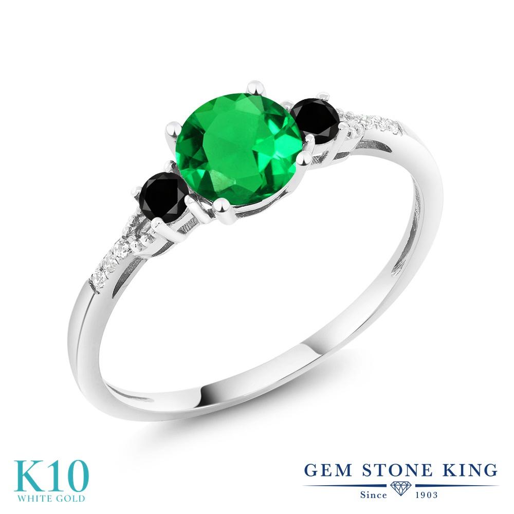 【10%OFF】 Gem Stone King 0.95カラット ナノエメラルド ブラックダイヤモンド 指輪 リング レディース 10金 ホワイトゴールド K10 マルチストーン クリスマスプレゼント 女性 彼女 妻 誕生日
