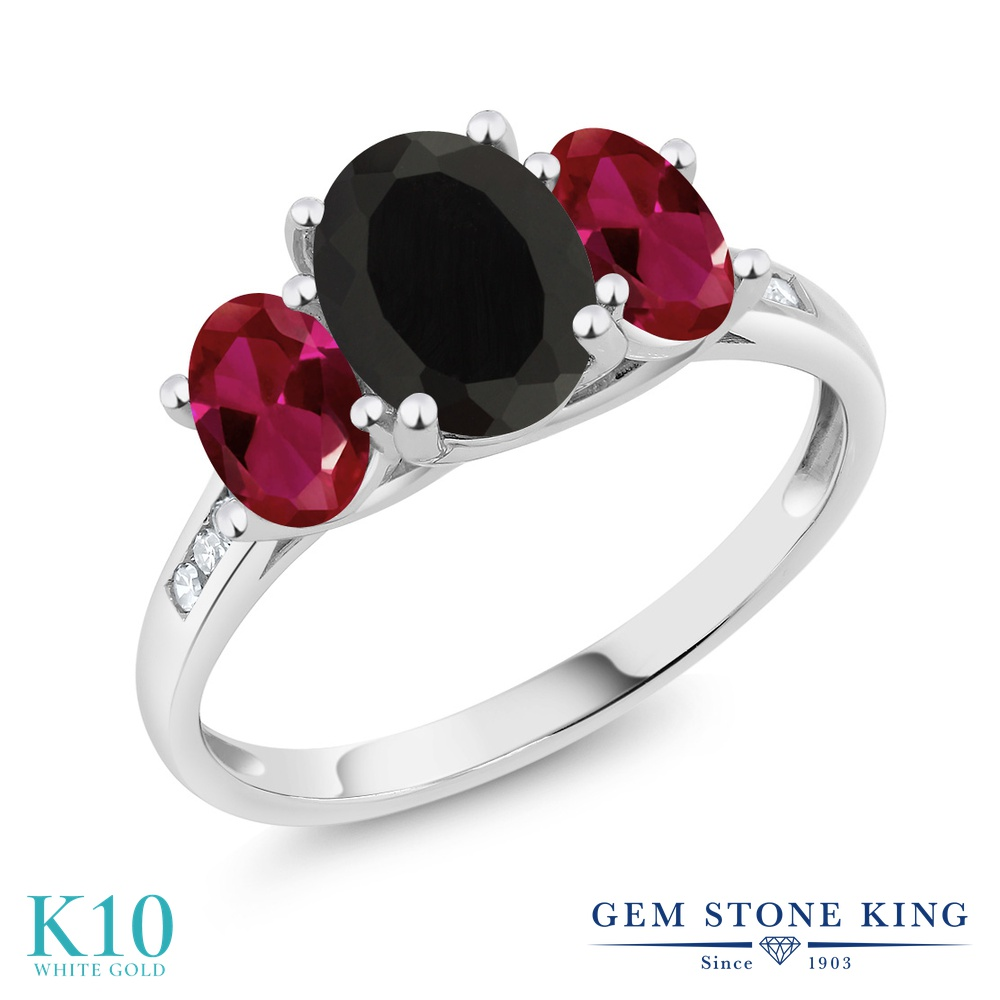 Gem Stone King 2.25カラット 天然 オニキス 合成ルビー 天然 ダイヤモンド 10金 ホワイトゴールド(K10) 指輪 リング レディース 大粒 スリーストーン 天然石 8月 誕生石 金属アレルギー対応 誕生日プレゼント