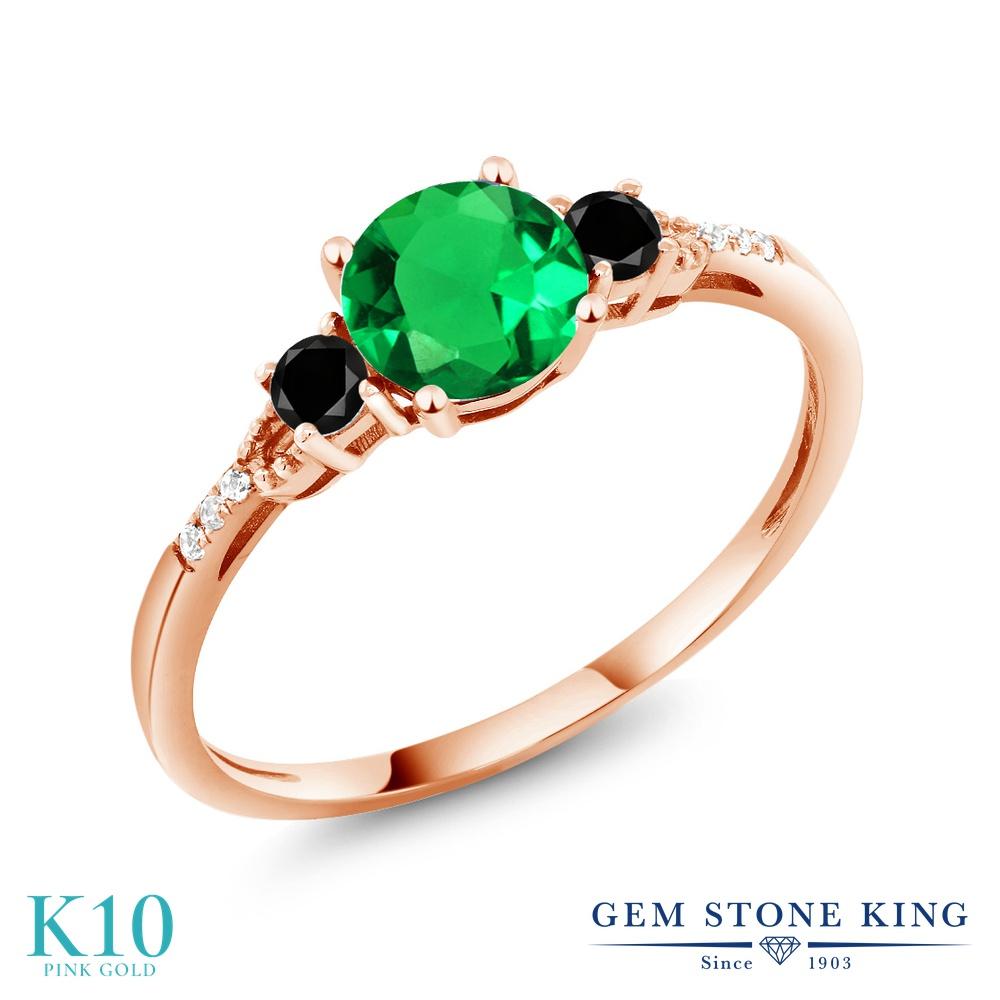 Gem Stone King 0.94カラット ナノエメラルド 天然ブラックダイヤモンド 10金 ピンクゴールド(K10) 指輪 リング レディース マルチストーン 金属アレルギー対応 誕生日プレゼント
