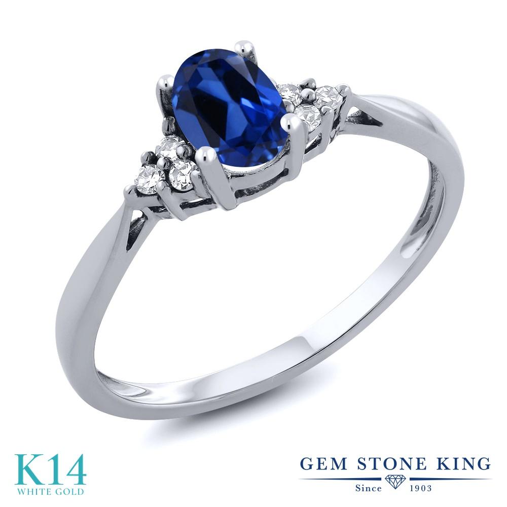 Gem Stone King 0.56カラット シミュレイテッド サファイア 天然 ダイヤモンド 14金 ホワイトゴールド(K14) 指輪 リング レディース 小粒 ソリティア 金属アレルギー対応 誕生日プレゼント