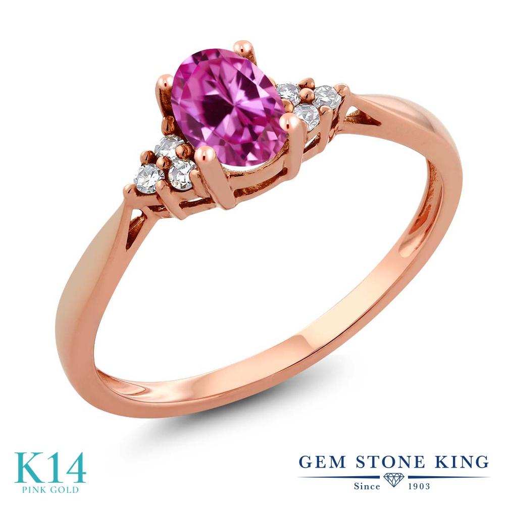 Gem Stone King 0.56カラット 合成ピンクサファイア 天然 ダイヤモンド 14金 ピンクゴールド(K14) 指輪 リング レディース 小粒 ソリティア 金属アレルギー対応 誕生日プレゼント