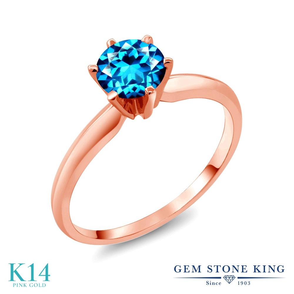 Gem Stone King 1カラット 天然石 カシミアブルートパーズ (スワロフスキー 天然石シリーズ) 14金 ピンクゴールド(K14) 指輪 リング レディース 大粒 一粒 シンプル ソリティア 天然石 金属アレルギー対応 誕生日プレゼント