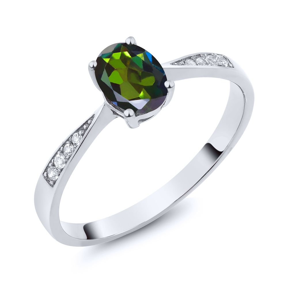【クーポンで10%OFF】 Gem Stone King 0.86カラット 天然 ミスティックトパーズ (トルマリングリーン) 天然 ダイヤモンド 10金 ホワイトゴールド(K10) 指輪 リング レディース ソリティア 天然石 金属アレルギー対応 誕生日プレゼント