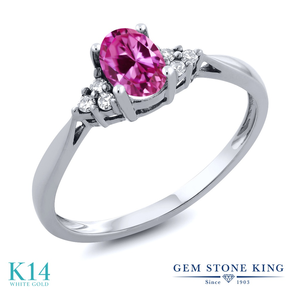 Gem Stone King 0.56カラット 合成ピンクサファイア 天然 ダイヤモンド 14金 ホワイトゴールド(K14) 指輪 リング レディース 小粒 ソリティア 金属アレルギー対応 誕生日プレゼント