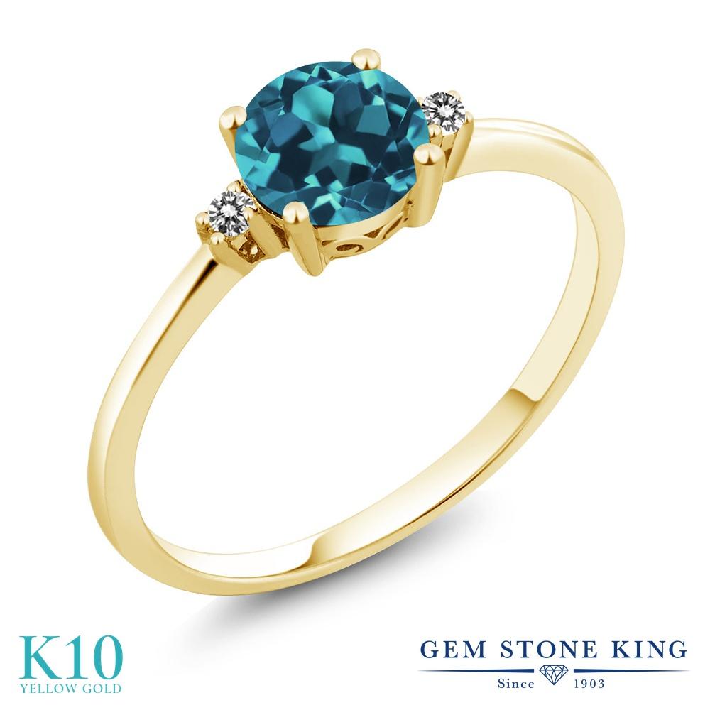 Gem Stone King 0.78カラット 天然 ロンドンブルートパーズ 天然 ダイヤモンド 10金 イエローゴールド(K10) 指輪 リング レディース シンプル ソリティア 天然石 11月 誕生石 金属アレルギー対応 誕生日プレゼント