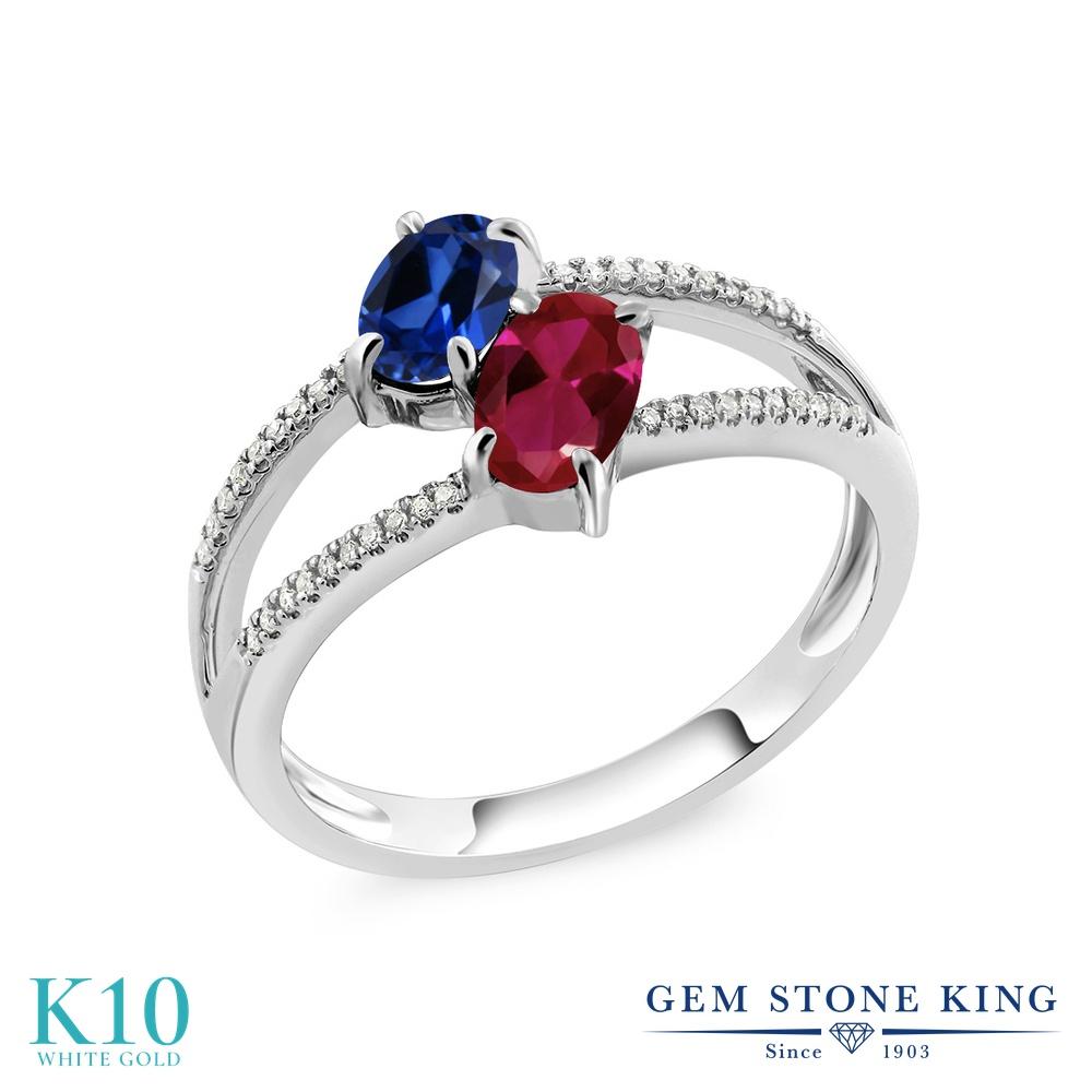 Gem Stone King 1.28カラット シミュレイテッド サファイア 合成ルビー 天然 ダイヤモンド 10金 ホワイトゴールド(K10) 指輪 リング レディース 小粒 ダブルストーン 金属アレルギー対応 誕生日プレゼント