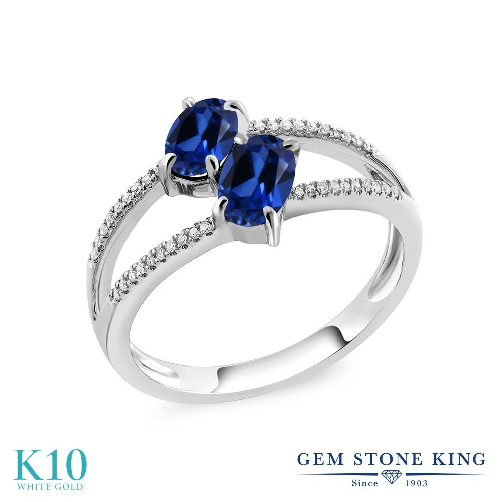 Gem Stone King 1.28カラット シミュレイテッド サファイア 天然 ダイヤモンド 10金 ホワイトゴールド(K10) 指輪 リング レディース 小粒 ダブルストーン 金属アレルギー対応 誕生日プレゼント