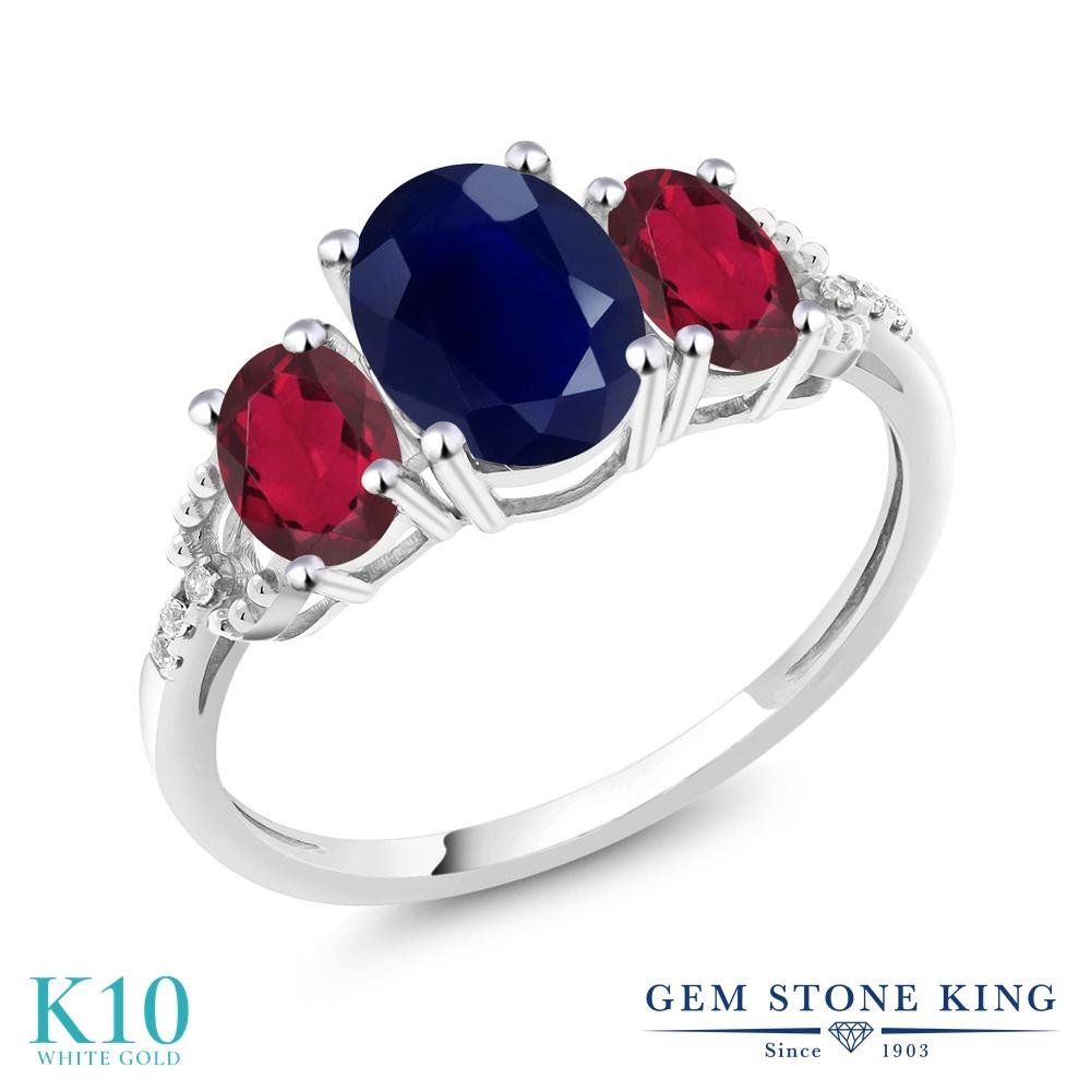 Gem Stone King 2.84カラット 天然 サファイア 天然 ミスティックトパーズ (ルビーレッド) 天然 ダイヤモンド 10金 ホワイトゴールド(K10) 指輪 リング レディース 大粒 スリーストーン 天然石 9月 誕生石 金属アレルギー対応 婚約指輪 エンゲージリング