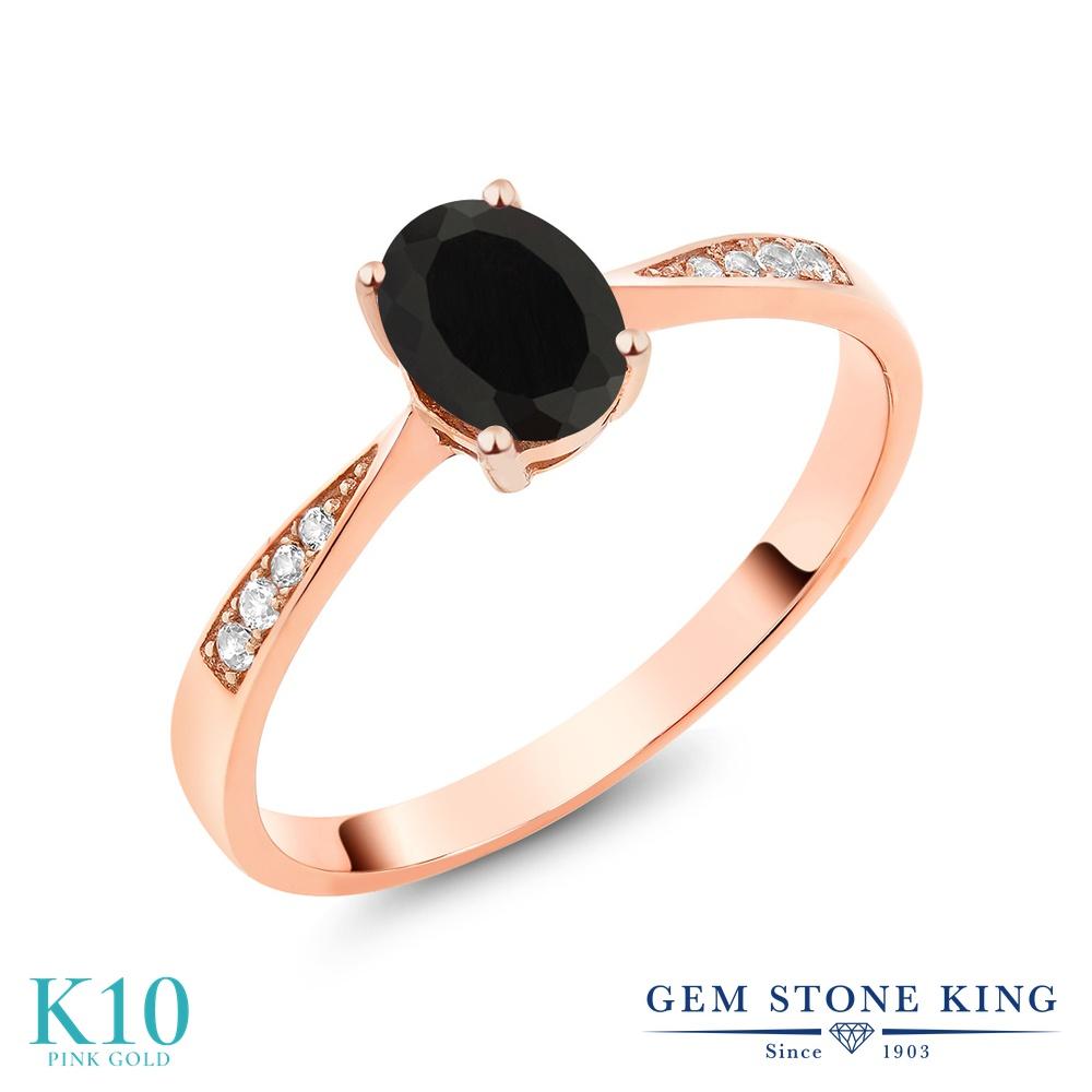 【10%OFF】 Gem Stone King 0.86カラット 天然 オニキス ダイヤモンド 指輪 リング レディース 10金 ピンクゴールド K10 ソリティア 天然石 8月 誕生石 クリスマスプレゼント 女性 彼女 妻 誕生日