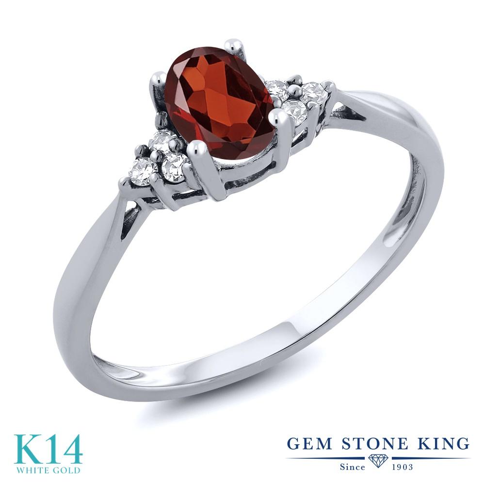 Gem Stone King 0.56カラット 天然 ガーネット 天然 ダイヤモンド 14金 ホワイトゴールド(K14) 指輪 リング レディース 小粒 ソリティア 天然石 1月 誕生石 金属アレルギー対応 誕生日プレゼント