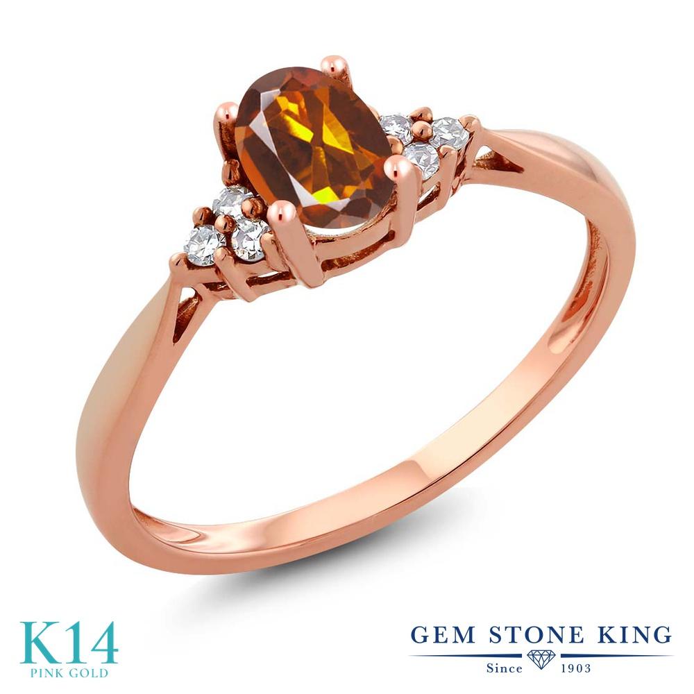 Gem Stone King 0.46カラット 天然 マデイラシトリン (オレンジレッド) 天然 ダイヤモンド 14金 ピンクゴールド(K14) 指輪 リング レディース 小粒 ソリティア 天然石 金属アレルギー対応 誕生日プレゼント