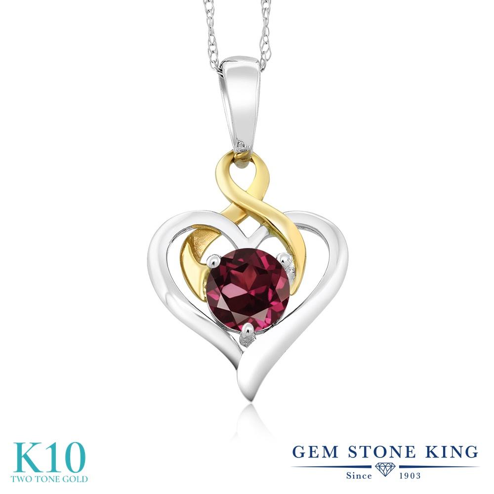 Gem Stone King 0.6カラット 天然 ロードライトガーネット 10金 Two Toneゴールド(K10) ネックレス ペンダント レディース 一粒 シンプル 天然石 金属アレルギー対応 誕生日プレゼント