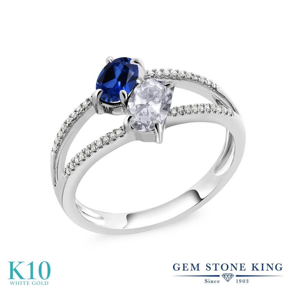 Gem Stone King 1.28カラット シミュレイテッド サファイア 天然 トパーズ (無色透明) 天然 ダイヤモンド 10金 ホワイトゴールド(K10) 指輪 リング レディース 小粒 ダブルストーン 金属アレルギー対応 誕生日プレゼント