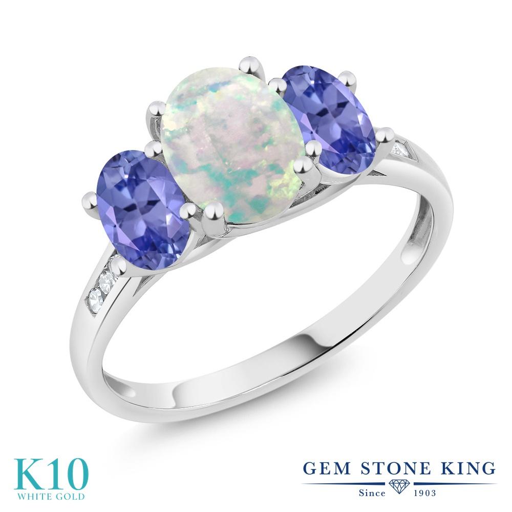 Gem Stone King 1.95カラット シミュレイテッド ホワイトオパール 天然石 タンザナイト 天然 ダイヤモンド 10金 ホワイトゴールド(K10) 指輪 リング レディース 大粒 スリーストーン 10月 誕生石 金属アレルギー対応 誕生日プレゼント