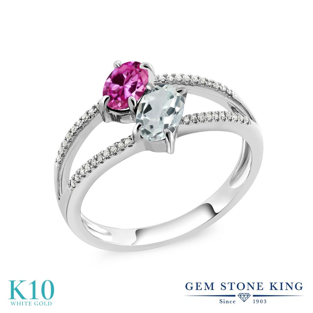 Gem Stone King 1.21カラット 合成ピンクサファイア 天然 アクアマリン 天然 ダイヤモンド 10金 ホワイトゴールド(K10) 指輪 リング レディース 小粒 ダブルストーン 金属アレルギー対応 誕生日プレゼント