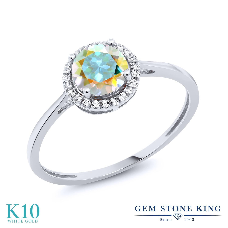 Gem Stone King 1.22カラット 天然石 ミスティックトパーズ (マーキュリーミスト) 天然 ダイヤモンド 10金 ホワイトゴールド(K10) 指輪 リング レディース 大粒 ヘイロー 天然石 金属アレルギー対応 誕生日プレゼント