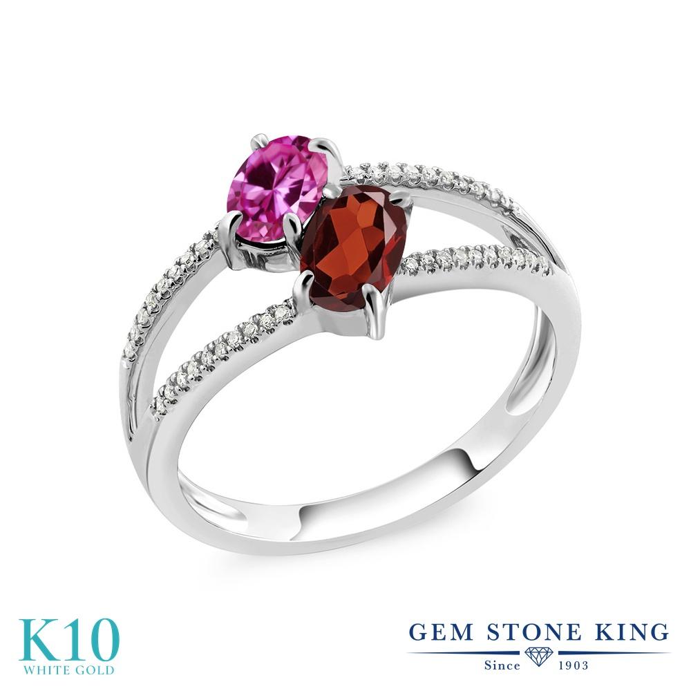 Gem Stone King 1.28カラット 合成ピンクサファイア 天然 ガーネット 天然 ダイヤモンド 10金 ホワイトゴールド(K10) 指輪 リング レディース 小粒 ダブルストーン 金属アレルギー対応 誕生日プレゼント