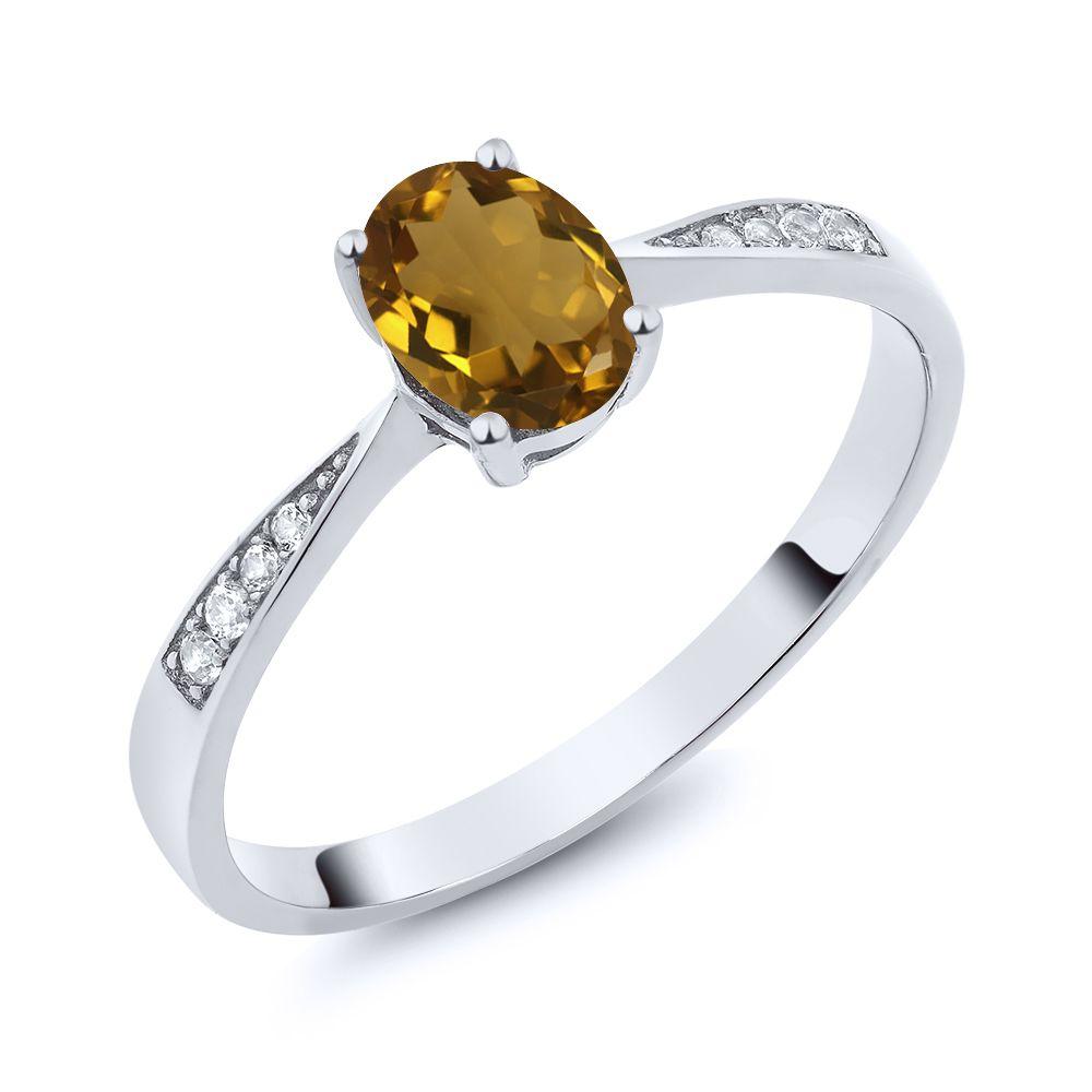 【クーポンで10%OFF】 Gem Stone King 0.76カラット 天然石 ウィスキークォーツ 天然 ダイヤモンド 10金 ホワイトゴールド(K10) 指輪 リング レディース ソリティア 天然石 金属アレルギー対応 誕生日プレゼント