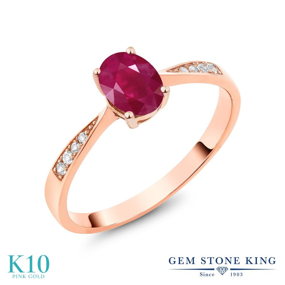 Gem Stone King 1.08カラット 天然 ルビー 天然 ダイヤモンド 10金 ピンクゴールド(K10) 指輪 リング レディース 大粒 ソリティア 天然石 7月 誕生石 金属アレルギー対応 誕生日プレゼント