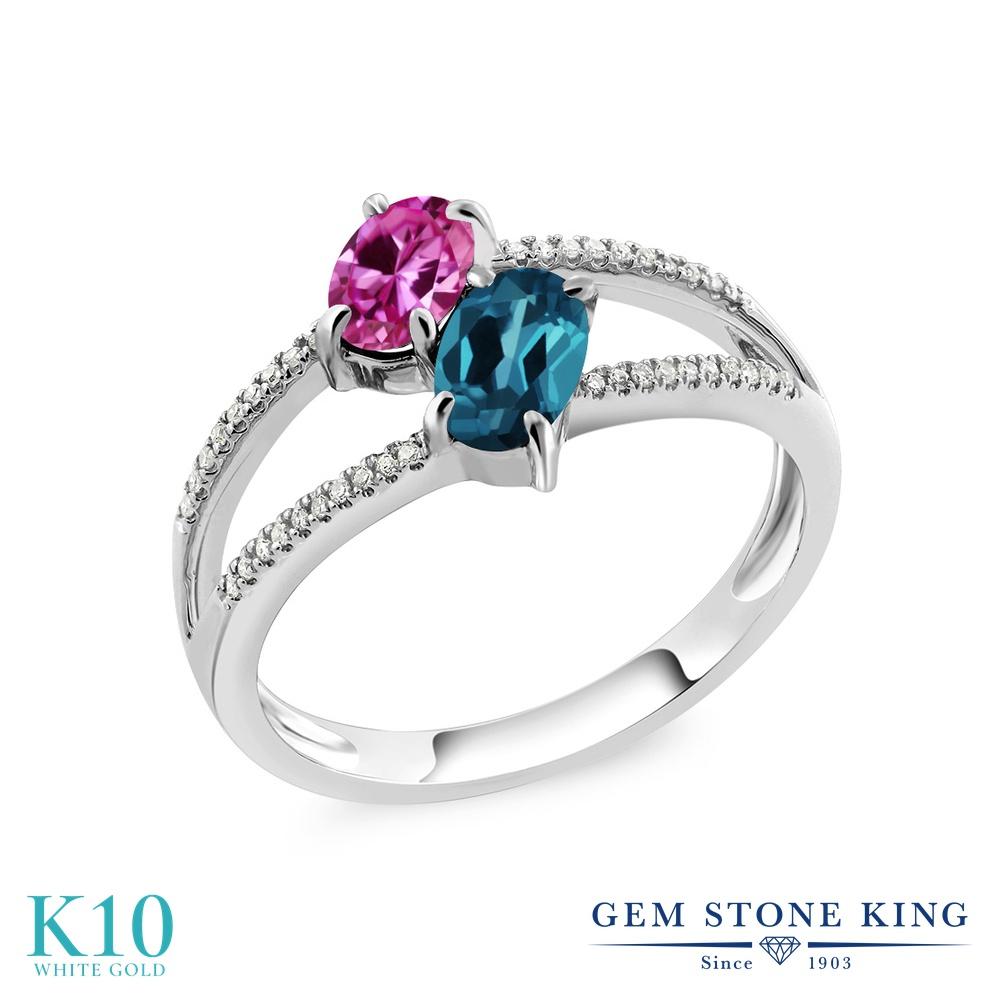 Gem Stone King 1.28カラット 合成ピンクサファイア 天然 ロンドンブルートパーズ 天然 ダイヤモンド 10金 ホワイトゴールド(K10) 指輪 リング レディース 小粒 ダブルストーン 金属アレルギー対応 誕生日プレゼント
