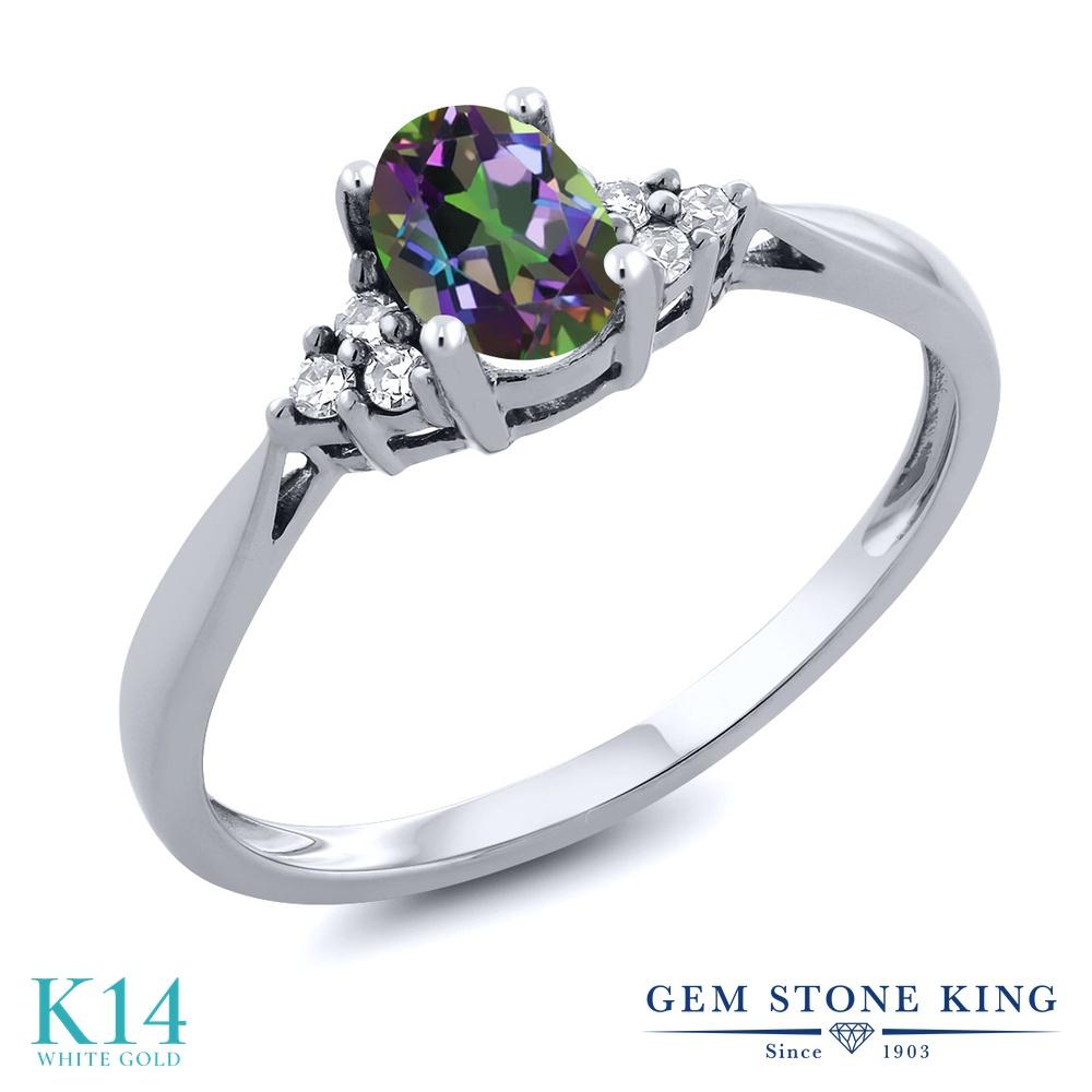 Gem Stone King 0.56カラット 天然石 ミスティックトパーズ (グリーン) 天然 ダイヤモンド 14金 ホワイトゴールド(K14) 指輪 リング レディース 小粒 ソリティア 天然石 金属アレルギー対応 誕生日プレゼント