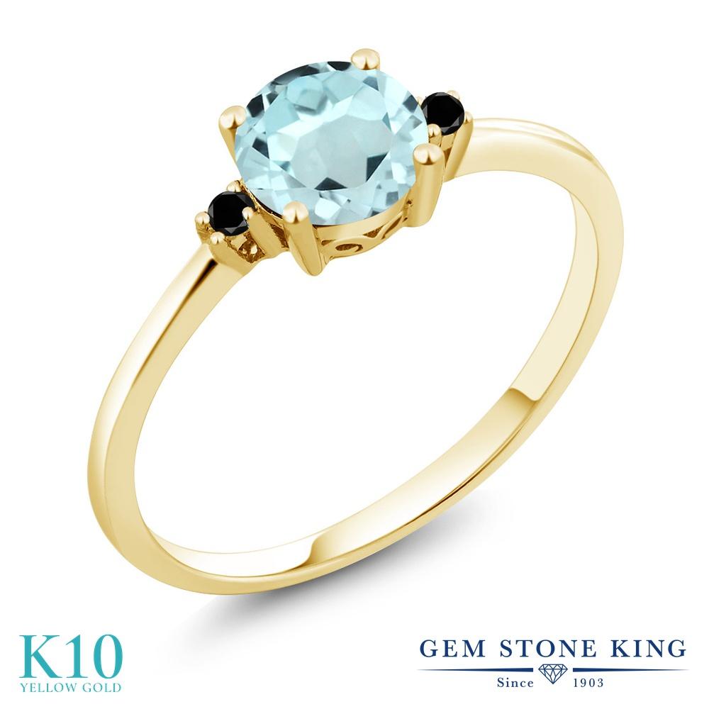 Gem Stone King 0.93カラット 天然 スカイブルートパーズ 天然ブラックダイヤモンド 10金 イエローゴールド(K10) 指輪 リング レディース 一粒 シンプル ソリティア 天然石 11月 誕生石 金属アレルギー対応 婚約指輪 エンゲージリング