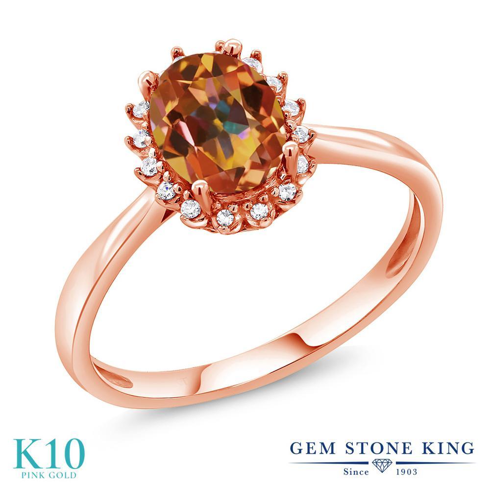 指輪 ピンクゴールド(K10) 大粒 10金 ダイヤモンド King ヘイロー Stone 天然石 リング レディース 天然 金属アレルギー対応 1.5カラット エクスタシーミスティックトパーズ 天然石 誕生日プレゼント Gem