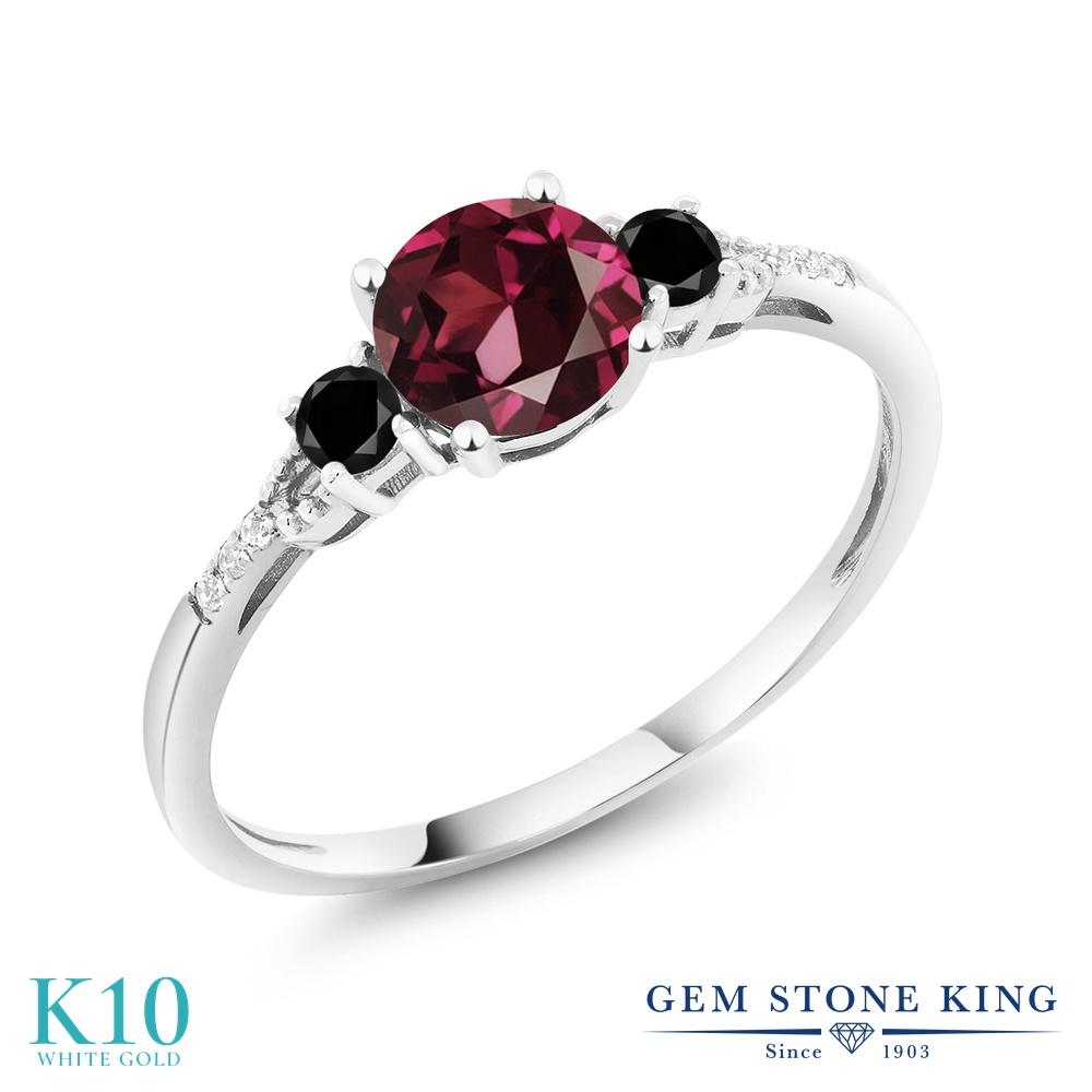 【10%OFF】 Gem Stone King 1.18カラット 天然 ロードライトガーネット ブラックダイヤモンド 指輪 リング レディース 10金 ホワイトゴールド K10 大粒 マルチストーン 天然石 クリスマスプレゼント 女性 彼女 妻 誕生日