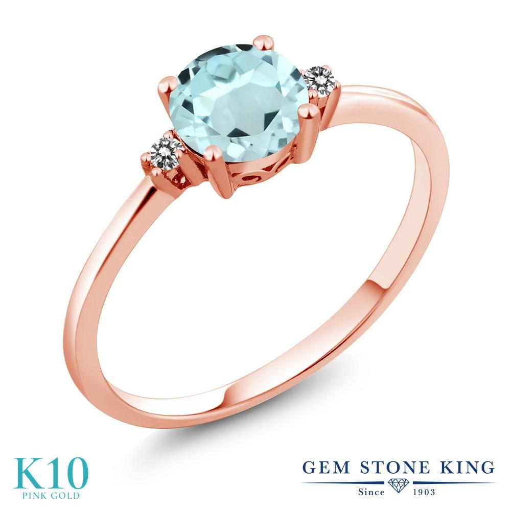 Gem Stone King 0.93カラット 天然 スカイブルートパーズ 天然 ダイヤモンド 10金 ピンクゴールド(K10) 指輪 リング レディース 一粒 シンプル ソリティア 天然石 11月 誕生石 金属アレルギー対応 婚約指輪 エンゲージリング